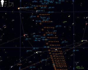 Orientační mapka k planetce 2014 JO25 pro období od 20. do 22. 4. 2017, časové značky jsou po třech hodinách ve světovém čase (UT). Mapka byla vygenerována v PC planetáriu Guide9. Autor: Martin Mašek