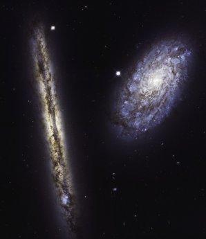 Dvojice spirálních galaxií NGC 4302 a NGC 4298 Autor: NASA, ESA, and M. Mutchler (STScI)