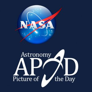 APOD - Astronomický snímek dne. Logo NASA a logo nezávislé stránky APOD na Facebooku