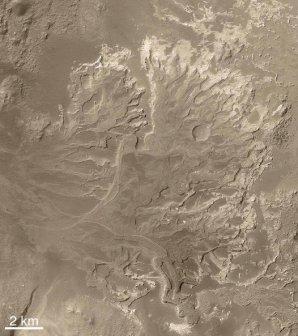 Delta dávné řeky na Marsu poblíž kráteru Holden Autor: NASA/JPL/Malin Space Science Systems