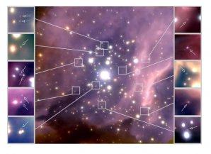 Snímek hvězdokupy RCW 38 s vyznačenými hnědými trpaslíky Autor: Koraljka Muzic, University of Lisbon