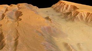 Část kaňonu Coprates Chasma na počítačem vygenerovaném snímku vytvořeném na základě dat evropské sondy Mars Express. Autor: ESA/DLR/FU Berlin, licence CC-BY-SA 3.0 IGO