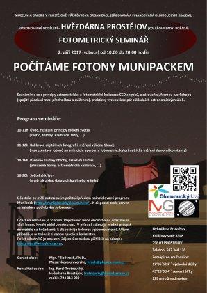 Pozvánka na fotometrický seminář: Počítáme fotony MUNIPACKEM Autor: Hvězdárna Prostějov