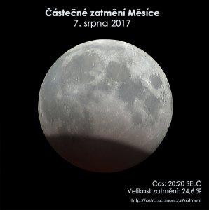 Simulační snímek maximální fáze zatmění při pohledu dalekohledem na tmavé obloze. Takto bude úkaz viditelný například z Asie; v Česku bude obloha ještě světlá. Autor: EAI/Petr Horálek.