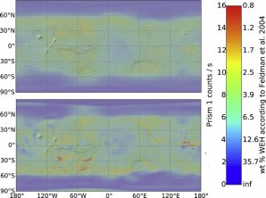 Rozložení vodního ledu v polárních čepičkách Marsu a v rovníkových oblastech Autor: Mars Odyssey Neutron Spectrometer