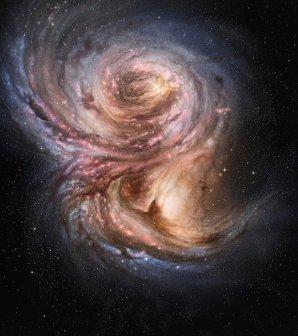 Galaxie SMM J2135-0102 s intenzivní tvorbou hvězd Autor: ESO/M. Kornmesser