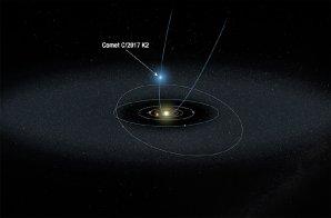 Kometa C/2017 K2 přilétá ke Slunci z Oortova oblaku Autor: NASA, ESA, and A. Feild (STScI)