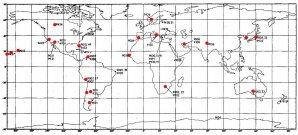 Dobové rozmiestnenie sledovacíc staníc siete SAO a USAF Autor: NASA