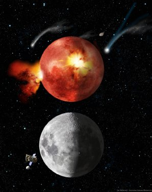 Umělecká představa Měsíce v době velkého bombardování a dnes Autor: wikipedia