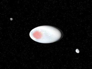 Původní představa trpasličí planety Haumea se dvěma měsíci Autor: SINC/José Antonio Peñas