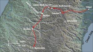 Mapa zobrazující biblickou cestu Izraelitů do Kanaanu, včetně města Gibeon, kde bylo pravděpodobně pozorováno prstencové zatmění Slunce.