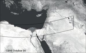 Pás viditelnosti prstencového zatmění Slunce 30.10.1207 př. n. l. v odpoledních hodinách. Bílý kroužek označuje město Azekah.