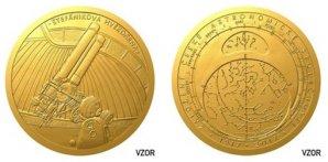 Návrh medaile k příležitosti 100. výročí České astronomické společnosti Autor: Martin Černický
