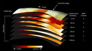 Velká rudá skvrna má kořeny hluboko v husté atmosféře Autor: NASA/JPL-Caltech/SwRI