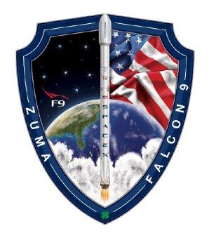 Oficiální emblém startu s družicí Zuma včetně klasického čtyřlístku pro štěstí od SpaceX Autor: NASASpaceFlight.com