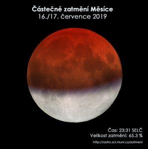 Simulační snímek částečného zatmění Měsíce 16. července 2019. Autor: EAI.