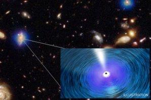 Vizualizace ultramasivní černé díry objevené ve vzdálené kupě galaxií Autor: NASA