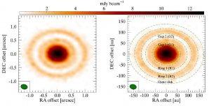 Hlavní struktury protoplanetárního disku AS 209 Autor: ALMA (ESO/NAOJ/NRAO)/D. Fedele et al.