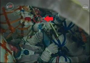 Na živých záběrech z kabiny, které vysílala TV NASA při startu, byl patrný i český Krteček (zde zrovna hlavou dolů) Autor: TV NASA