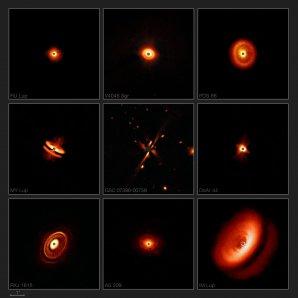 Nové snímky, které astronomové pořídili pomocí přístroje SPHERE a dalekohledu ESO/VLT, odhalují v dosud nedostižných detailech prachové disky obklopující nedaleké mladé hvězdy. Zachycují kolekci bizarních tvarů, velikostí a struktur, které jsou pravděpodobně také důsledkem efektů vyvolaných formujícími se planetami. Autor: ESO/H. Avenhaus et al./E. Sissa et al./DARTT-S and SHINE collaborations