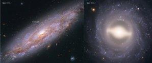 Snímek z HST zachycuje 2 z 19 galaxií analyzovaných za účelem určení hodnoty Hubbleovy konstanty. Galaxie NGC 3972 (vlevo) je vzdálena 65 miliónů světelných roků a NGC 1015 leží ve vzdálenosti 118 miliónů světelných roků od Země. Žlutými kroužky jsou vyznačeny polohy cefeid. Autor: NASA, ESA, A. Riess (STScI/JHU)