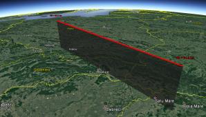 Obr. 9: 3D projekce dráhy bolidu 20170614_200709 v atmosféře Země (zdroj mapového podkladu: Google Earth, Google Inc.). Autor: Jakub Koukal