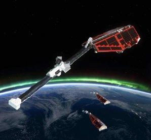 Umělecká představa vědeckých družic Swarm Autor: ESA/AOES Medialab