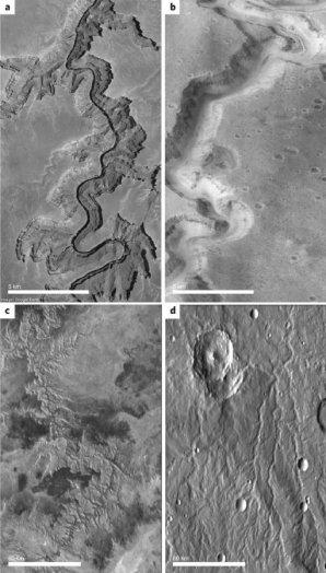 Geomorfologické důkazy přítomnosti vody na mladém Marsu v porovnání se Zemí. a) Colorado River Canyon – Země; b) Nanedi Vallis – Mars; c) Grand Canyon – Země; d) říční systém – Mars Autor: Ramirez and Craddock (2018), Nature Geoscience