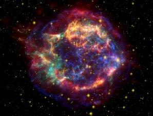 Pozůstatek po výbuchu supernovy Cas A, která se nachází ve vzdálenosti 11 000 světelných let Autor: NASA/JPL-Caltech/O. Krause (Steward Observatory)