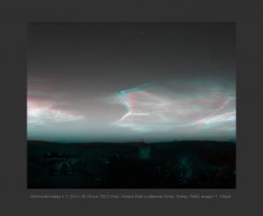 Anaglyf nočních svítících oblaků (NLC) z 4. 7. 2014 Autor: Podklad ČHMÚ