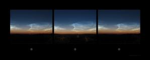 Stereogram nočních svítících oblaků (NLC) z 4. 7. 2014 Autor: Podklad ČHMÚ