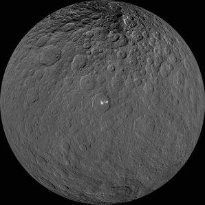 Celkový pohled na trpasličí planetu Ceres – uprostřed je kráter Occator s jasnými skvrnami solí Autor: NASA/JPL-Caltech/UCLA/MPS/DLR/IDA