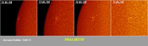Vývoj aktivní oblasti NOAA AR2710 na Slunci. Obrázek je uměle obarvený. Autor: Hvězdárna Pardubice