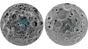 Rozložení ledu na povrchu Měsíce v okolí jižního pólu (vlevo) a severního pólu (vpravo) podle měření přístroje Moon Mineralogy Mapper (NASA) na palubě indické družice Chandrayaan-1 Autor: NASA