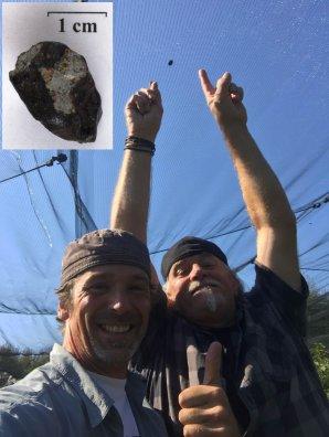 Obrázek 8. 30. září 2018 Ralph Sporn a Martin Neuhofer nalezli další meteorit (M4) o hmotnosti 4.8 g východně od města Renchen, jak je zachycený v síti zakrývající jabloňový sad. Detail meteoritu je vložený do obrázku. Autor: Ralph Sporn a Martin Neuhofer.