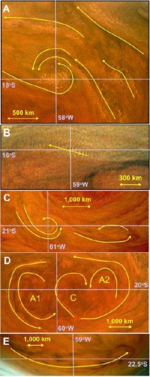Detailní studie pěti oblastí uvnitř Velké rudé skvrny Autor: American Astronomical Society/Sanchez-Lavega et al.