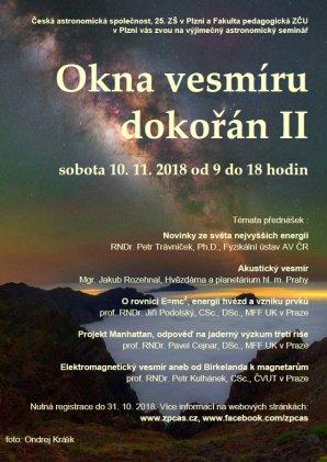 Plakát semináře Okna vesmíru dokořán II