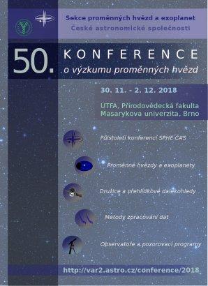 Letáček 50. konference o výzkumu proměnných hvězd Autor: Jakub Juryšek, Kateřina Hoňková, Martin Mašek
