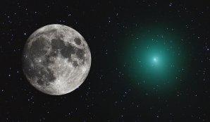 Kompozitní koláž porovnávající Měsíc se současnou úhlovou velikostí komety Wirtanen 2. proisince 2018. Autor: Mike Broussard