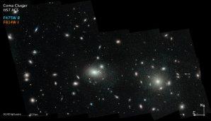 Zelené kroužky představují polohy kulových hvězdokup v kupě galaxií Coma Autor: NASA/ESA/J. Mack, STScI/J. Madrid, Australian Telescope National Facility