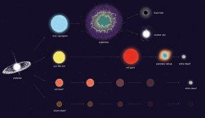 Umělecké ztvárnění možného vývoje různě hmotných hvězd Autor: ESA