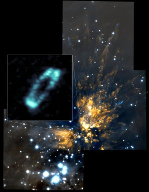 ALMA detekovala prstenec s obsahem soli u mladé hvězdy Orion Source I Autor: ALMA (NRAO/ESO/NAOJ); NRAO/AUI/NSF; Gemini Observatory/AURA