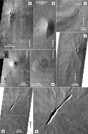 Složený snímek z několika THEMSI obrázků zachycuje několik malých sopek nacházejících se v oblasti Tharsis na povrchu Marsu. Obrázek převzat z Hauber a kolektiv (2009). Původní autor fotografií NASA. Autor: Hauber a kolektiv (2009), NASA.