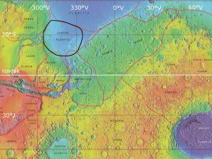 Mozaika fotografií v nepravých barvách zachycuje prohlubeň Chryse Planitia nacházející se na severní polokouli Marsu. Je to právě jižní část této oblasti, kde se vyskytuje velké množství několik kilometrů velkých těles, jež jsou nejžhavějšími kandidáty na to, že vznikly vlivem roztékání bahna po povrchu Marsu. Autor snímků NASA, licence volné dílo.