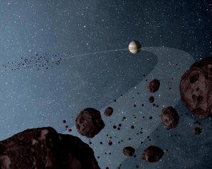 Dvě skupiny Trojanů na dráze Jupitera před a za planetou ve směru oběhu Autor: NASA/JPL-Caltech