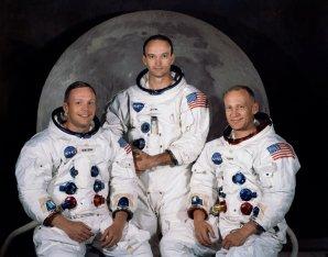 Posádka Apolla 11. Zleva: N. Armstrong, M. Collins, E. Aldrin. Autor: NASA.