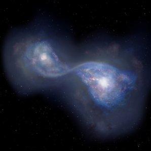 Umělecká představa srážky galaxií B14-65666 ve vzdálenosti 13 miliard světelných roků Autor: NAOJ