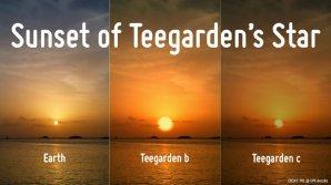 Porovnání východu Slunce na Zemi a mateřské hvězdy na planetách Teegarden b a c Autor: A. Mendez, Planetary Habitability Laboratory, University of Puerto Rico at Arecibo