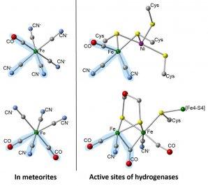 V meteoritech byly identifikovány komplexy kyano-karbonyl železa, které jsou součástí enzymů objevených u bakterií Autor: Smith et al. Nature Communications, 2019
