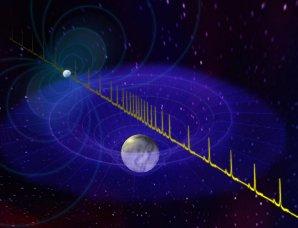Změna délky pulsů vyzařovaných pulsarem při průchodu kolem bílého trpaslíka Autor: B. Saxton/NRAO/AUI/NSF